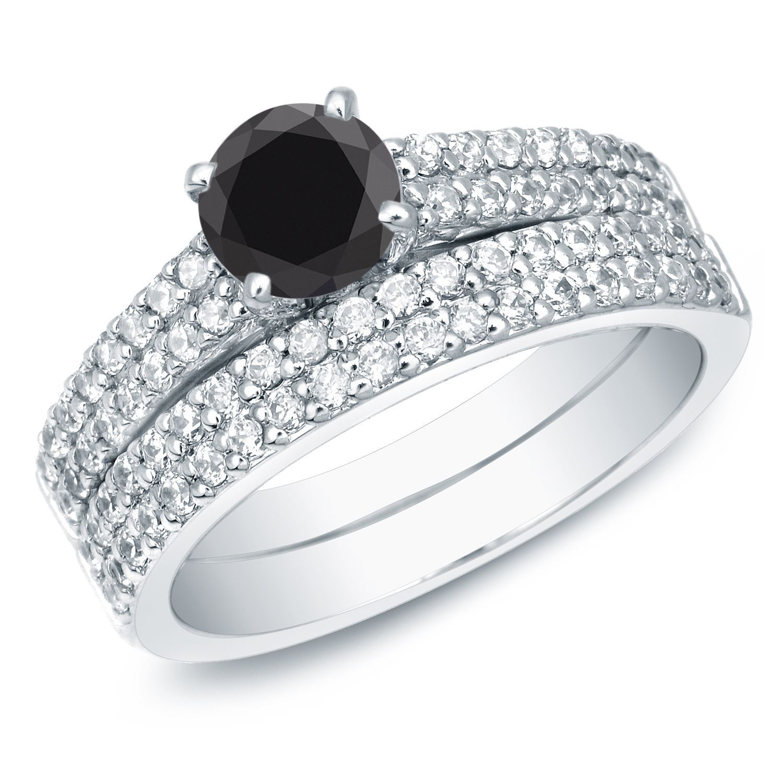Auriya 14k Gold 1 1 2ct TDW Round Black Diamond Bridal Set Black