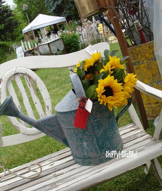 AwEsoMe Old Teal Blue Watering Can with SunFlowers...
