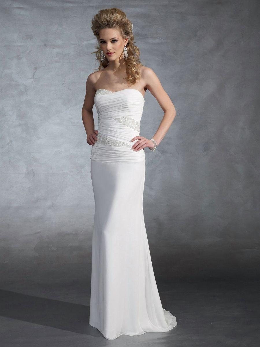 Beaded sheath wedding dress  Light Chiffon Strapless Sheath Wedding Dress with Beading Leads Down