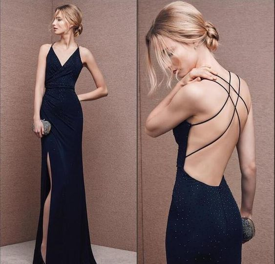 Black Prom Dress V-neck Party Dress Spaghetti Straps Evening Dress Backless Formal Dress Sexy High Slit Party Dress