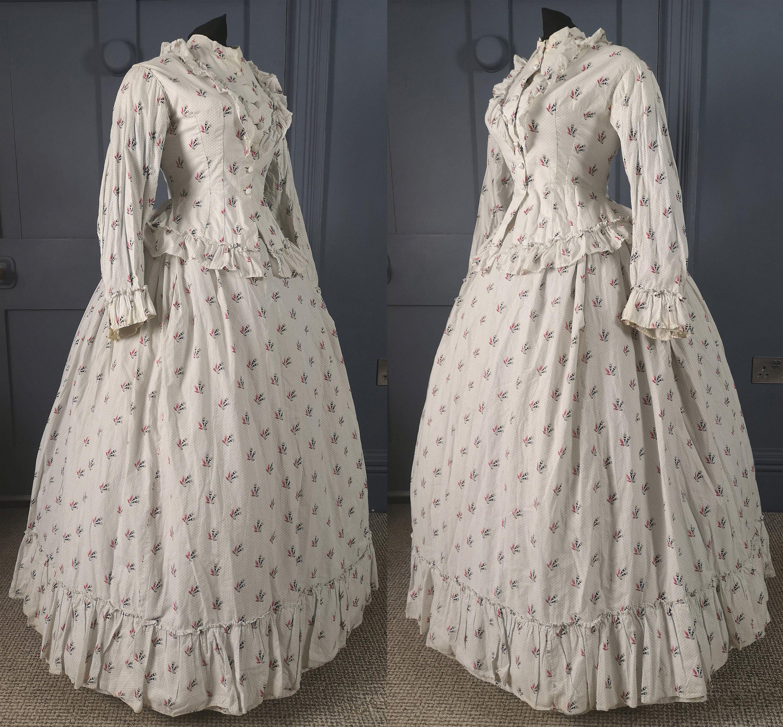 Stunning 1860s 1870s Cornucopia Print Summer Bustle Etsy Crinoline Dress Bustle Dress Ball Gowns [ 2782 x 3000 Pixel ]