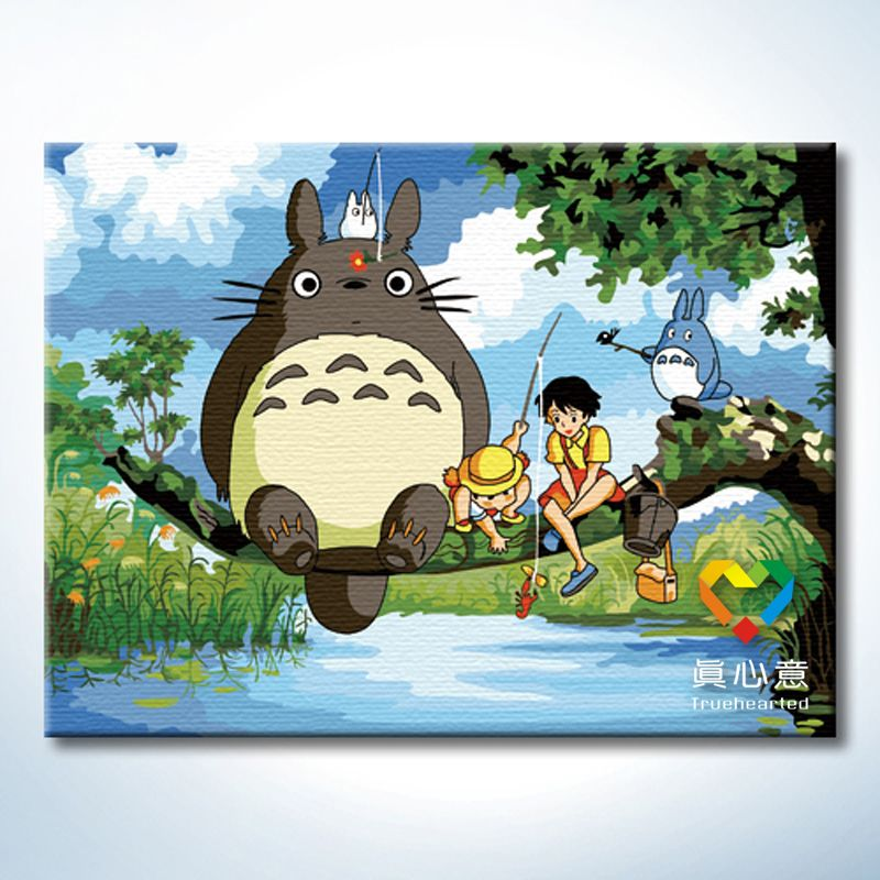 Rosh Fun Diy Oil Painting With Inner Frame To Hang On Kid S Room For Decoration Totoro Drawing トトロ ジブリ作品 ジブリ