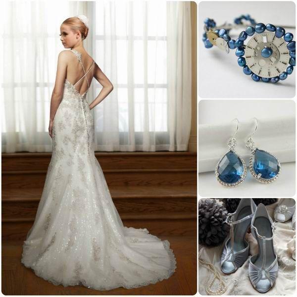 Winter Wonderland Wedding Gowns: Romantic Winter Wedding Colors: Blue Shades + Silver