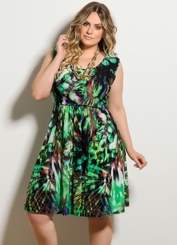 Vestido Evasê Estampado Plus Size - Posthaus