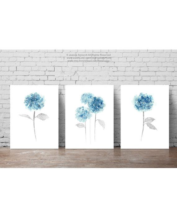 Blue Hydrangea Painting Bathroom Wall Decor Fl Watercolor Hortensia Centerpiece Three Abstract Flowers Baby Room Nursery
