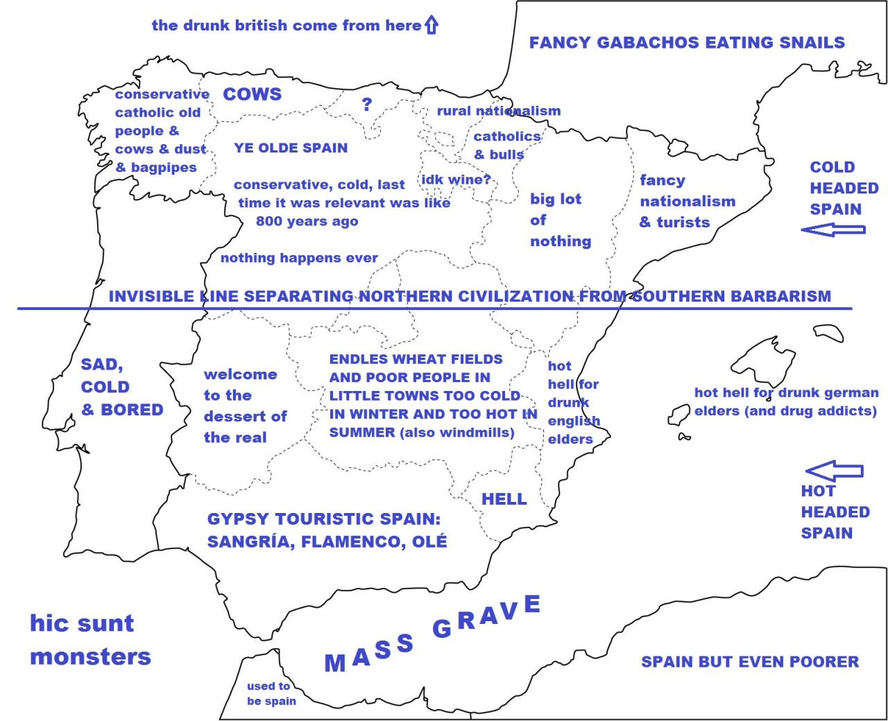Detailed Map Of Spain In English.Spain Stereotype Map Spain Map Spain Cartography