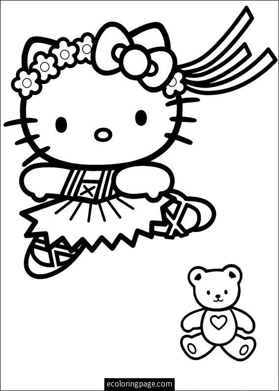 Hello Kitty Ballerina Dancing With Bear Coloring Pages For Girls