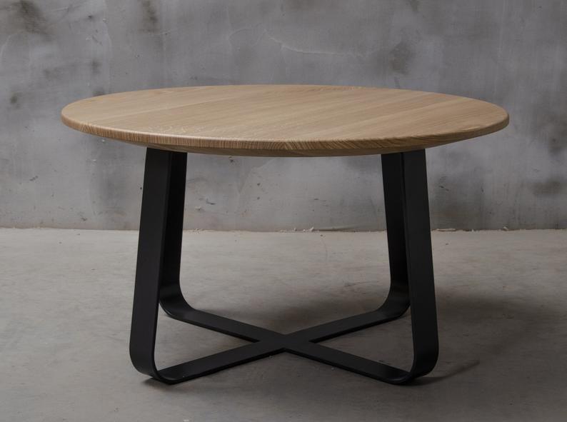 Round Oak Coffee Table With Black Steel Legs Ligth Wood Industrial Coffee Table Small Coffee Table Living Room Furniture Oak Coffee Table Coffee Table Small Coffee Table