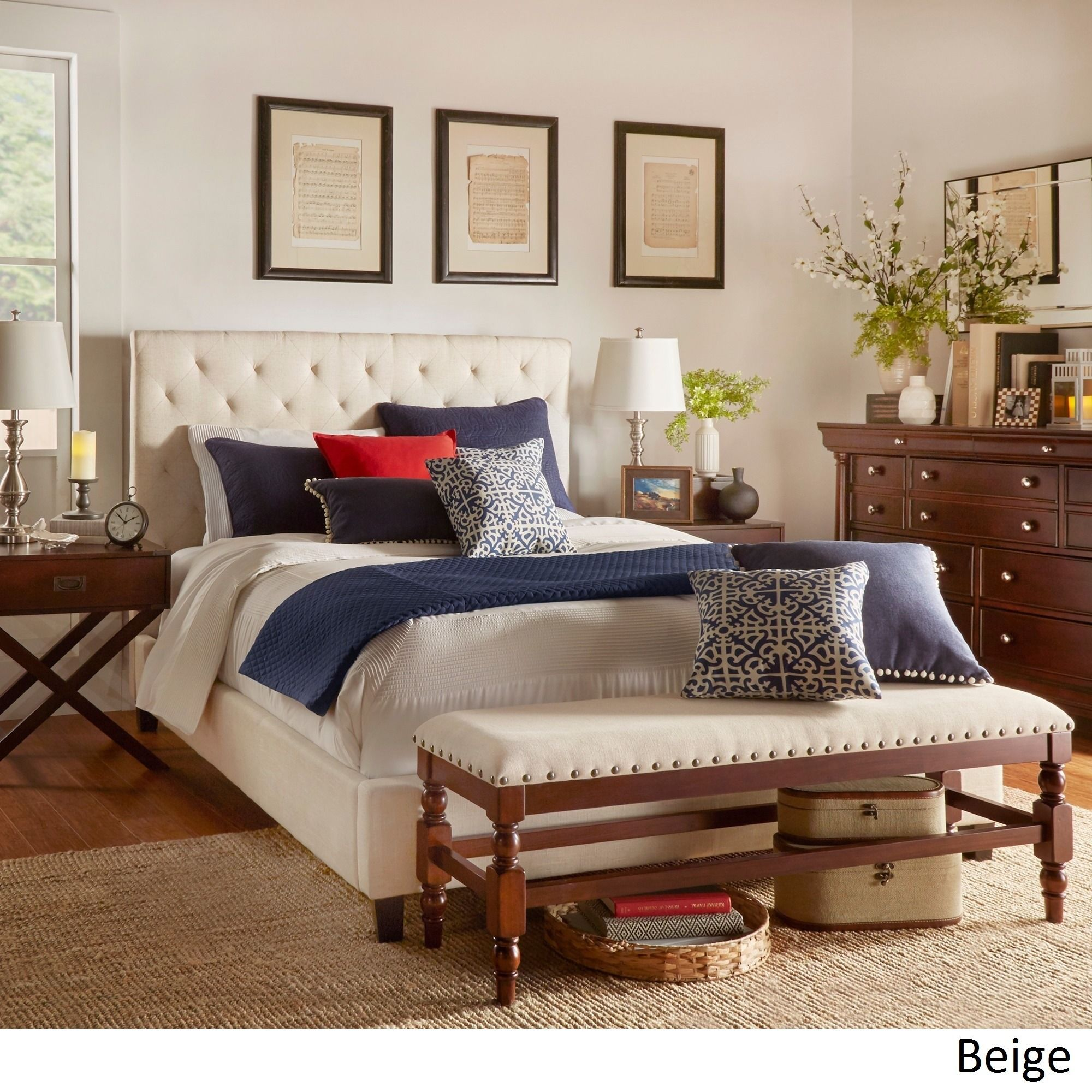 Add this TRIBECCA HOME Sophie Tufted Upholstered Bed to your modern bedroom  to create a relaxed