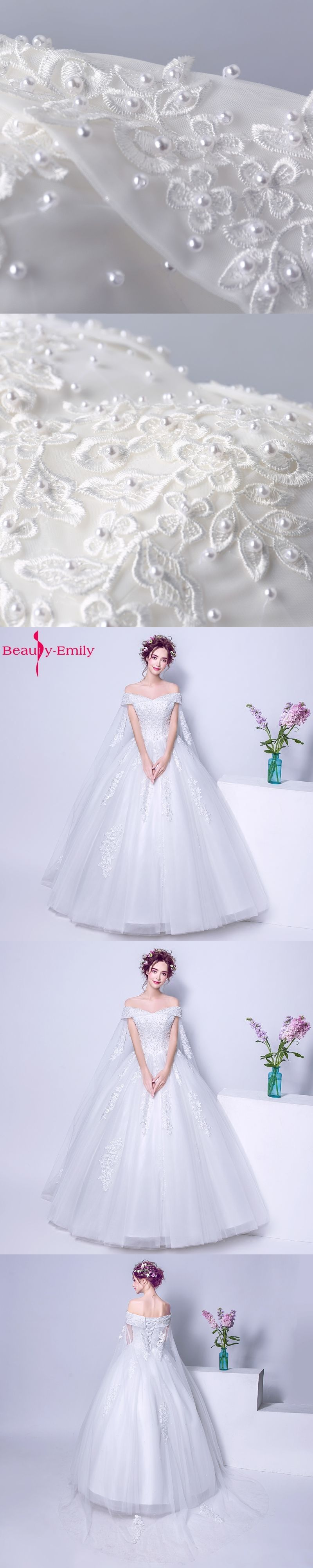 Beauty-Emily Luxury Pears Ball Gown White Plus Size Wedding Dresses with Cloak  Sleeveless Lace 344a66393f4e