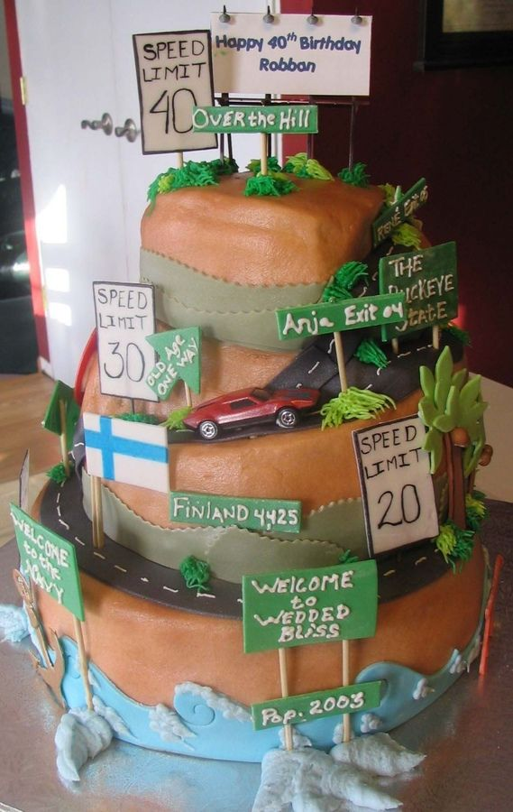 Cake for a man turning 40 Wife wanted over the hill theme Cake is