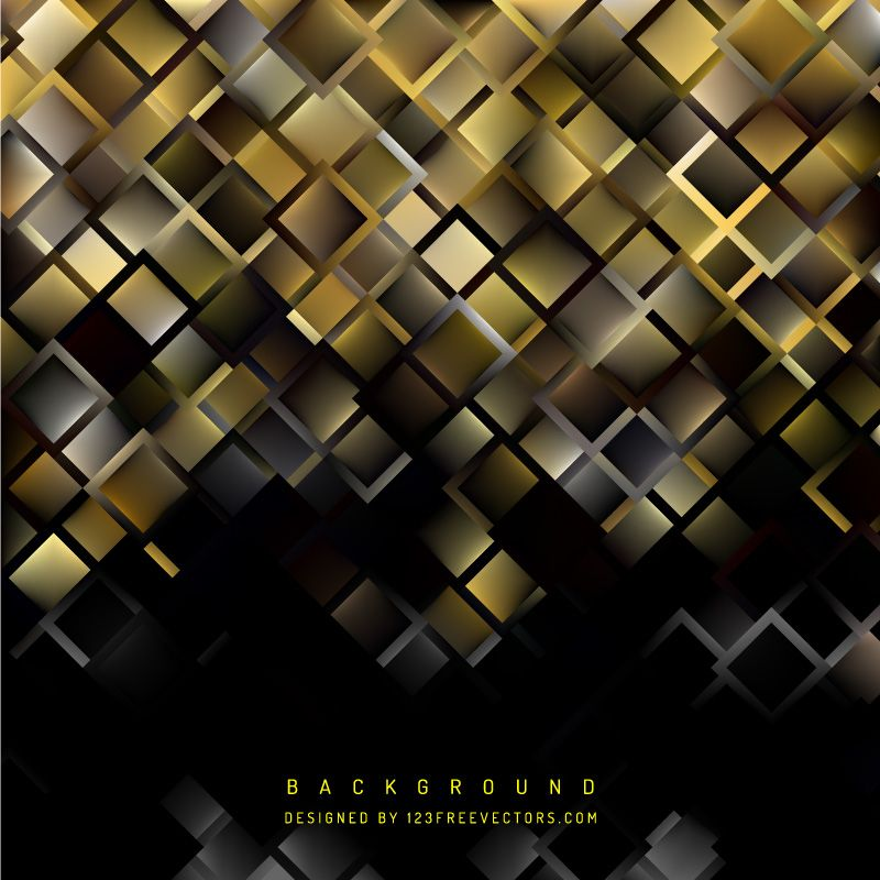 Abstract Black Gold Square Background Design Gold Background Background Design Background Design Vector