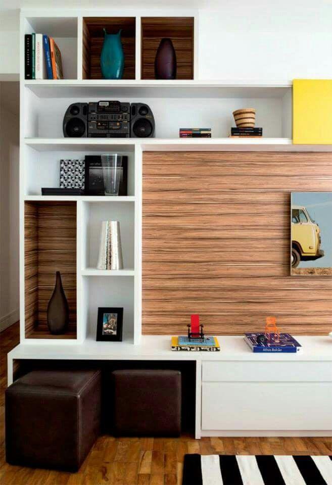 Mueble y puffs   racks   Pinterest   Mueble tv, Sala de estar y Libreros