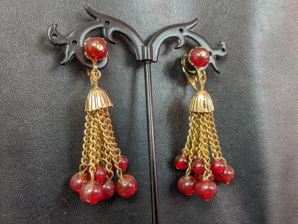 Red Berry Lucite Clip On Earrings