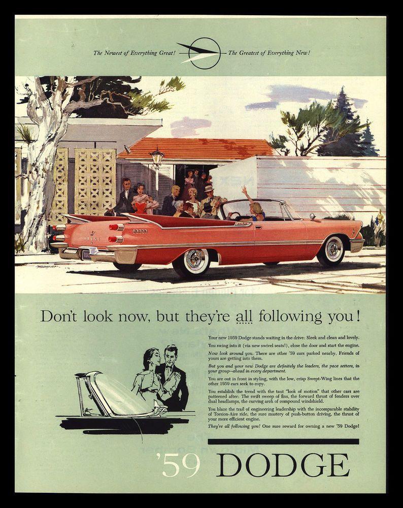 ORIGINAL 1959 DODGE CONVERTIBLE CLASSIC CAR VINTAGE ADVERTISING ...