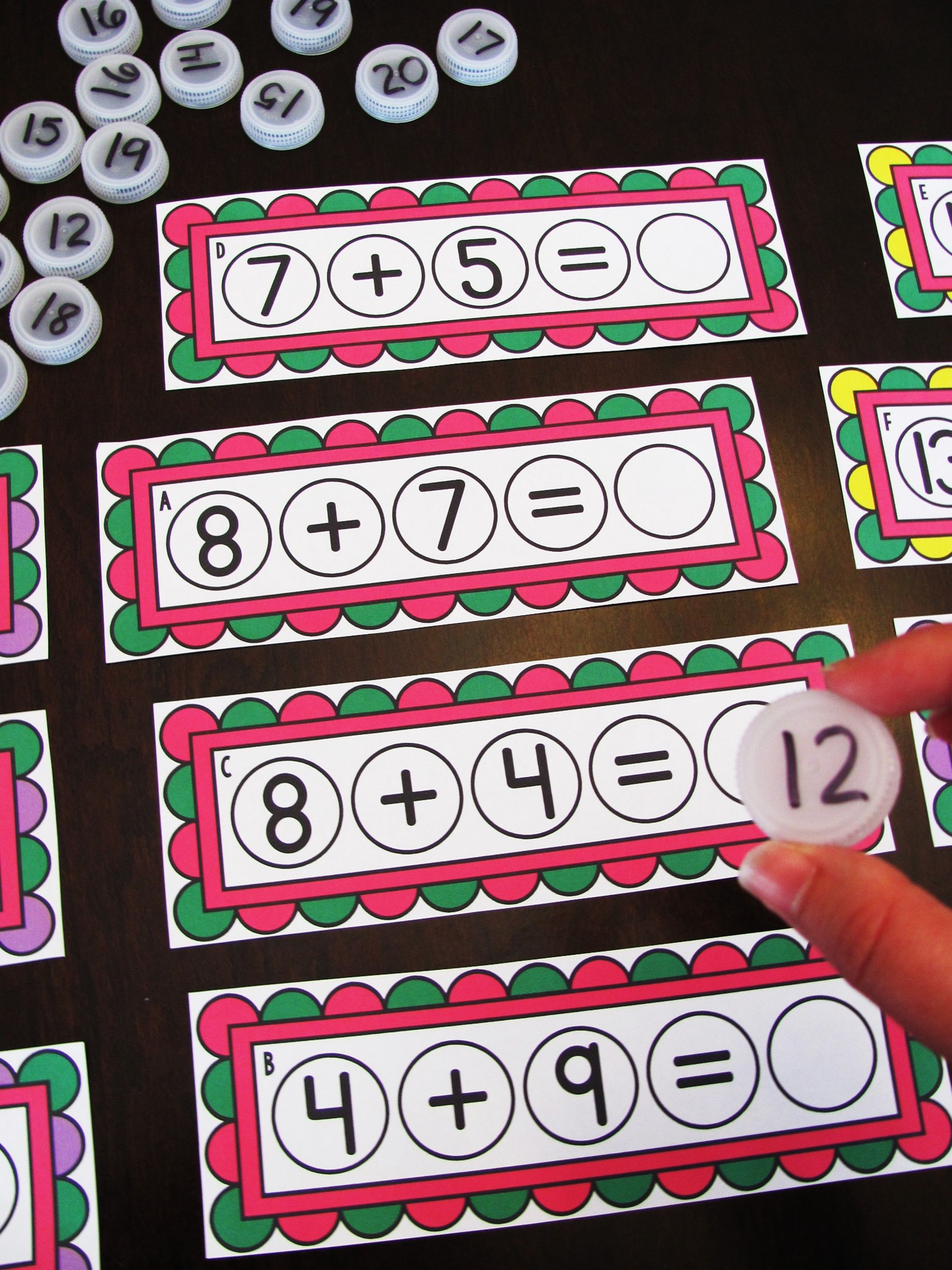 Addition To 20 Games Bottle Cap Math Centers