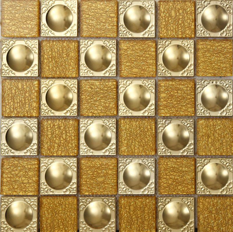 Metal Backsplash Tiles Stainless Steel Backsplash Gold Crystal Glass ...
