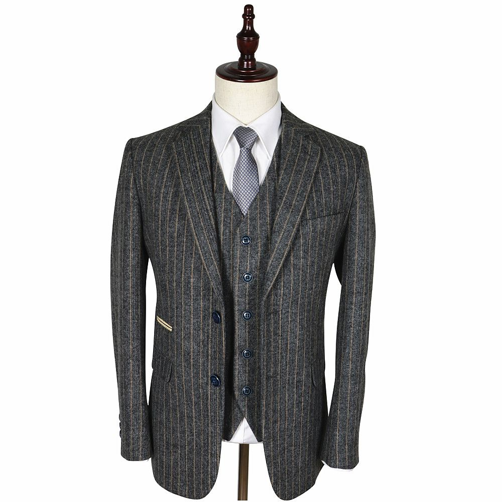 Vintage Mens Suit Grey Classic Wool Tweed Brown Stripe Tailored ...