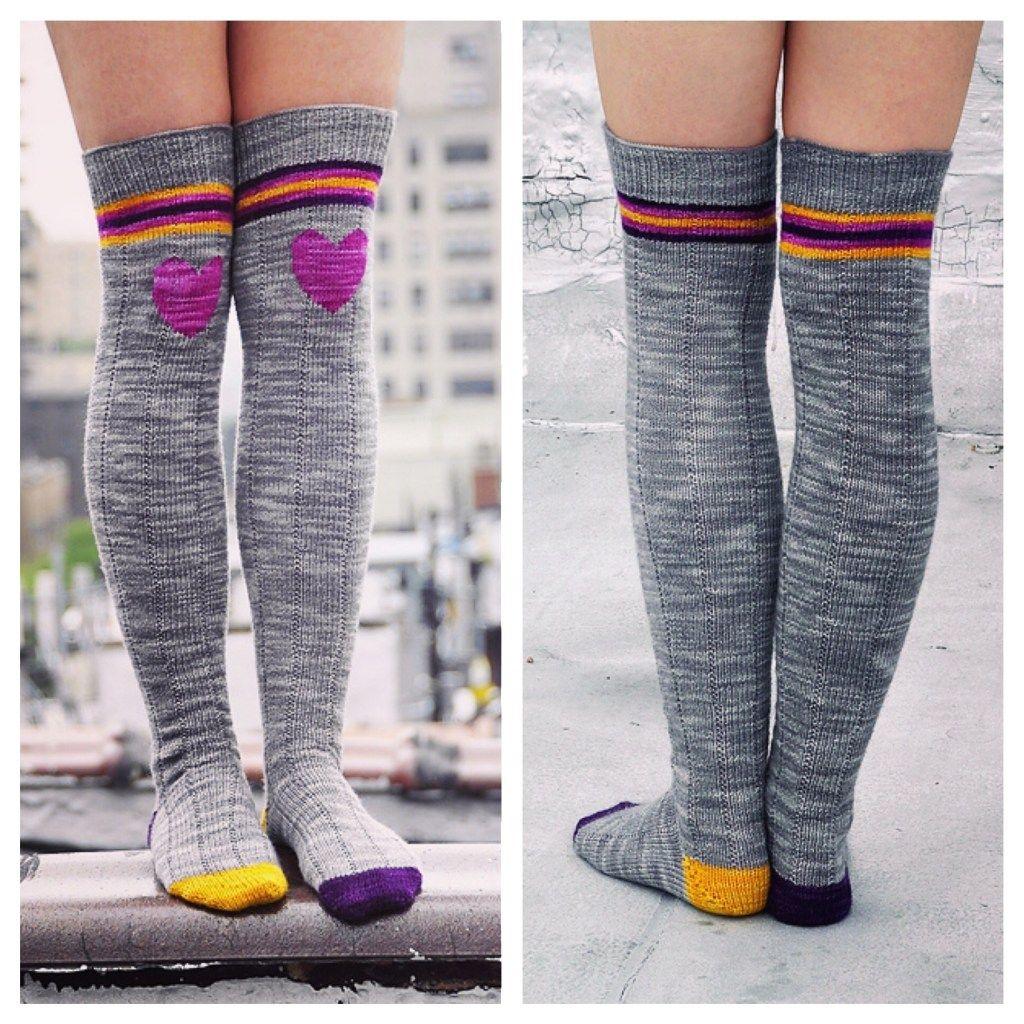 """""""Roller Girl"""" Heart Knee Patch Striped Socks Pattern By"""