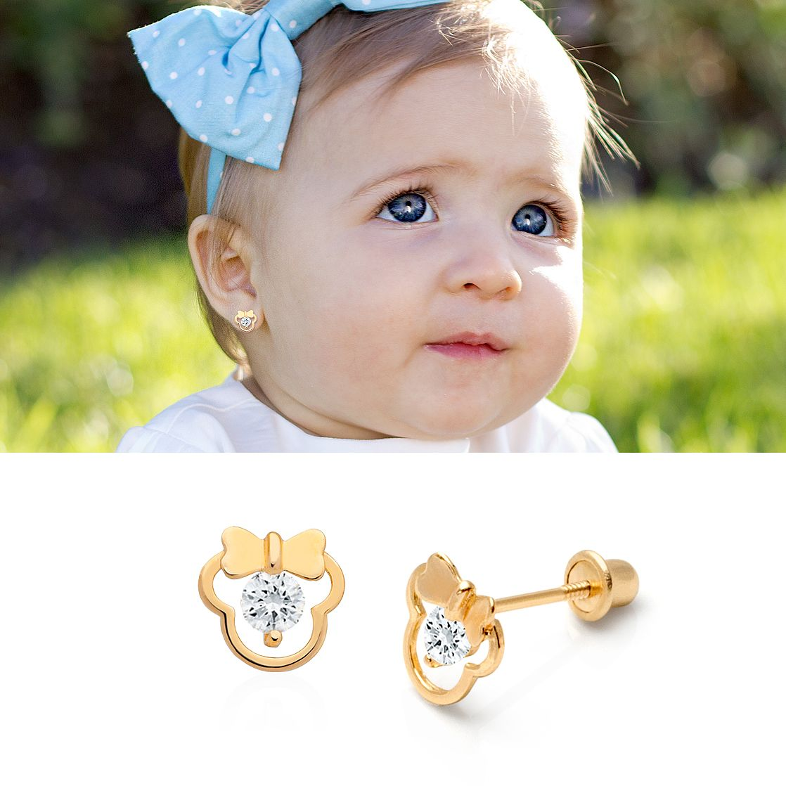 Girl Mouse With Bow Earrings, Clear Cz, Screw Back  14k Gold