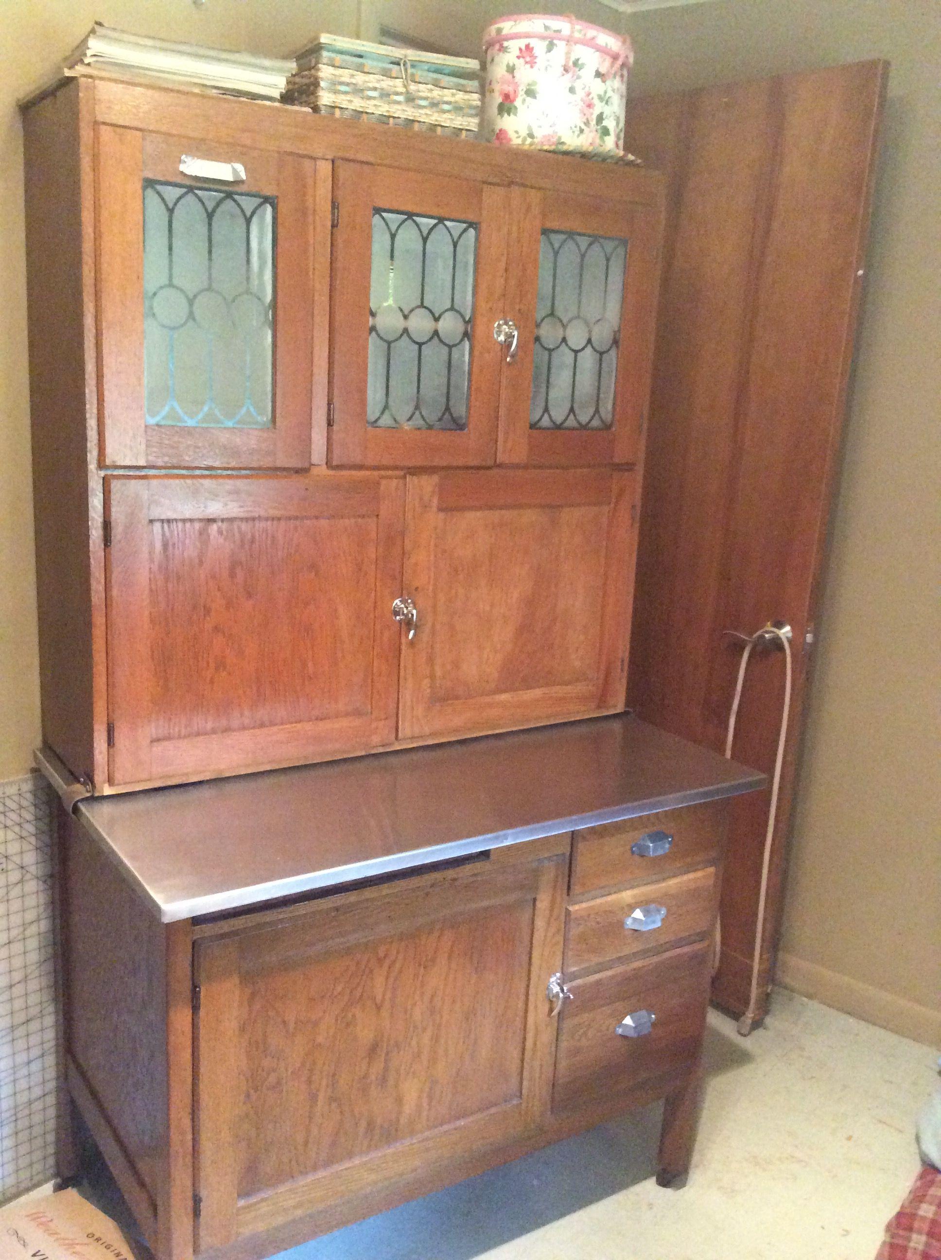 Oak Wilson Kitchen Cabinet with flour sifter, glass doors ...
