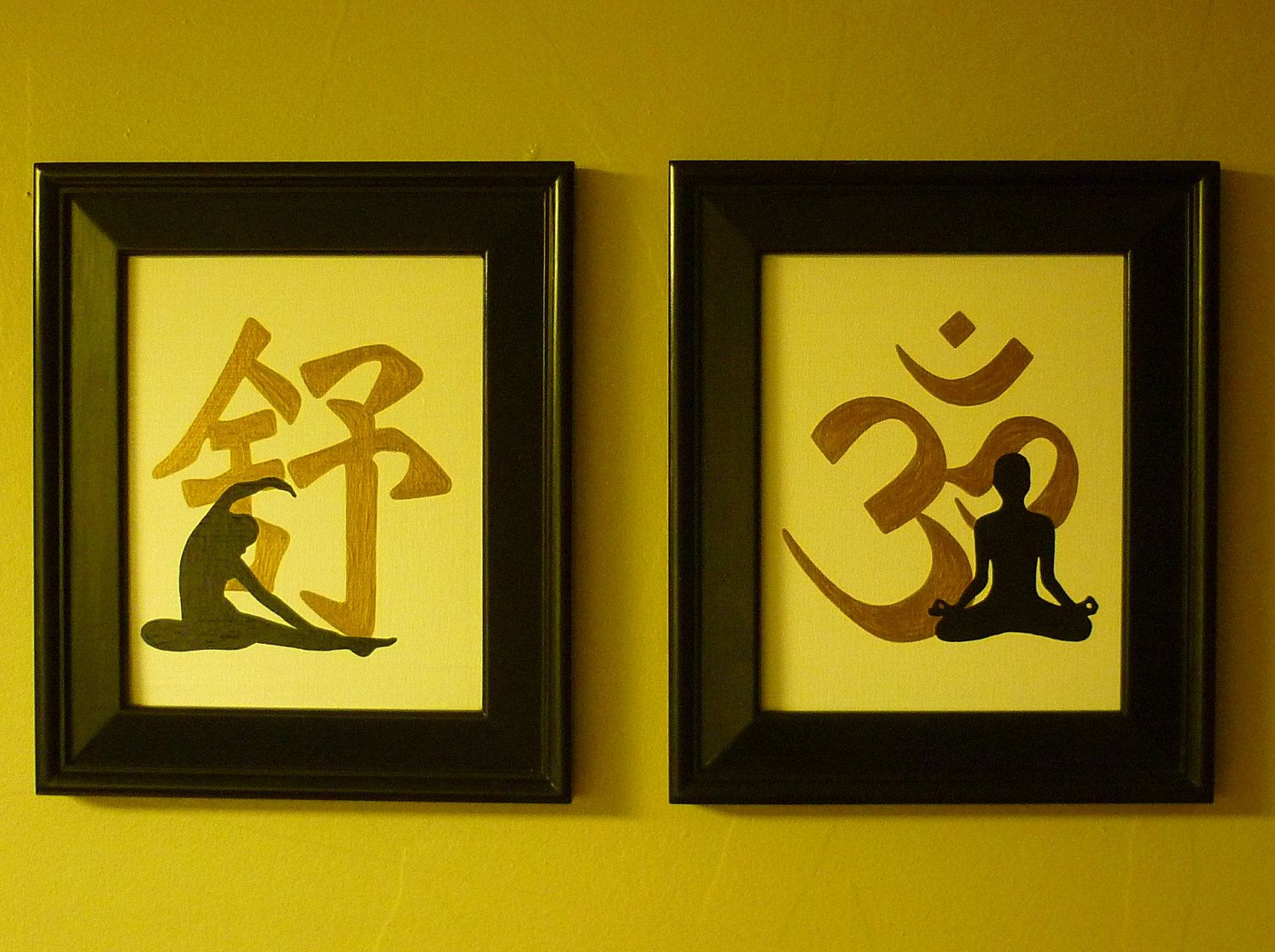 YOGA ZEN Chinese Symbols for Meditation-Stretches-Handpainted Wall ...