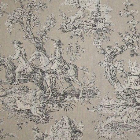 tissu toile de jouy bien aller beige x 10cm toile de jouy pinterest toile de jouy toile. Black Bedroom Furniture Sets. Home Design Ideas