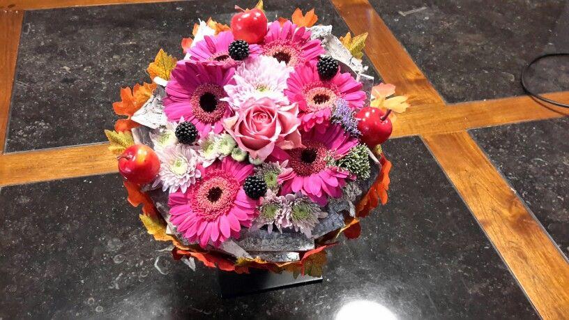 Photo vu du haut de ma composition floral.
