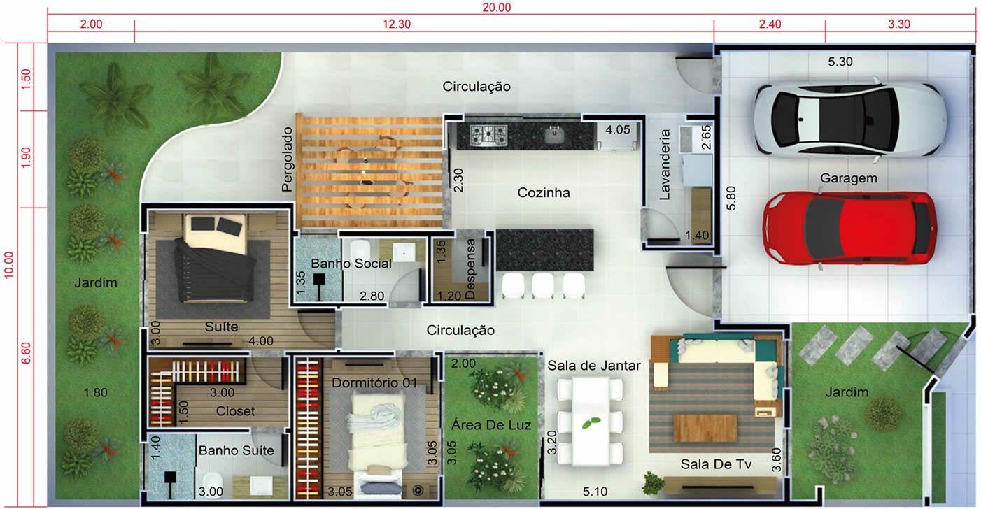 Plano de casa moderna con 2 dormitorios planos de casas for Casa moderna 1 11 2