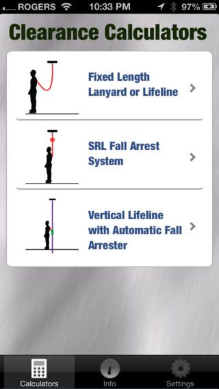 This app provides fall arrest clearance calculators, tools for - fall protection plan template