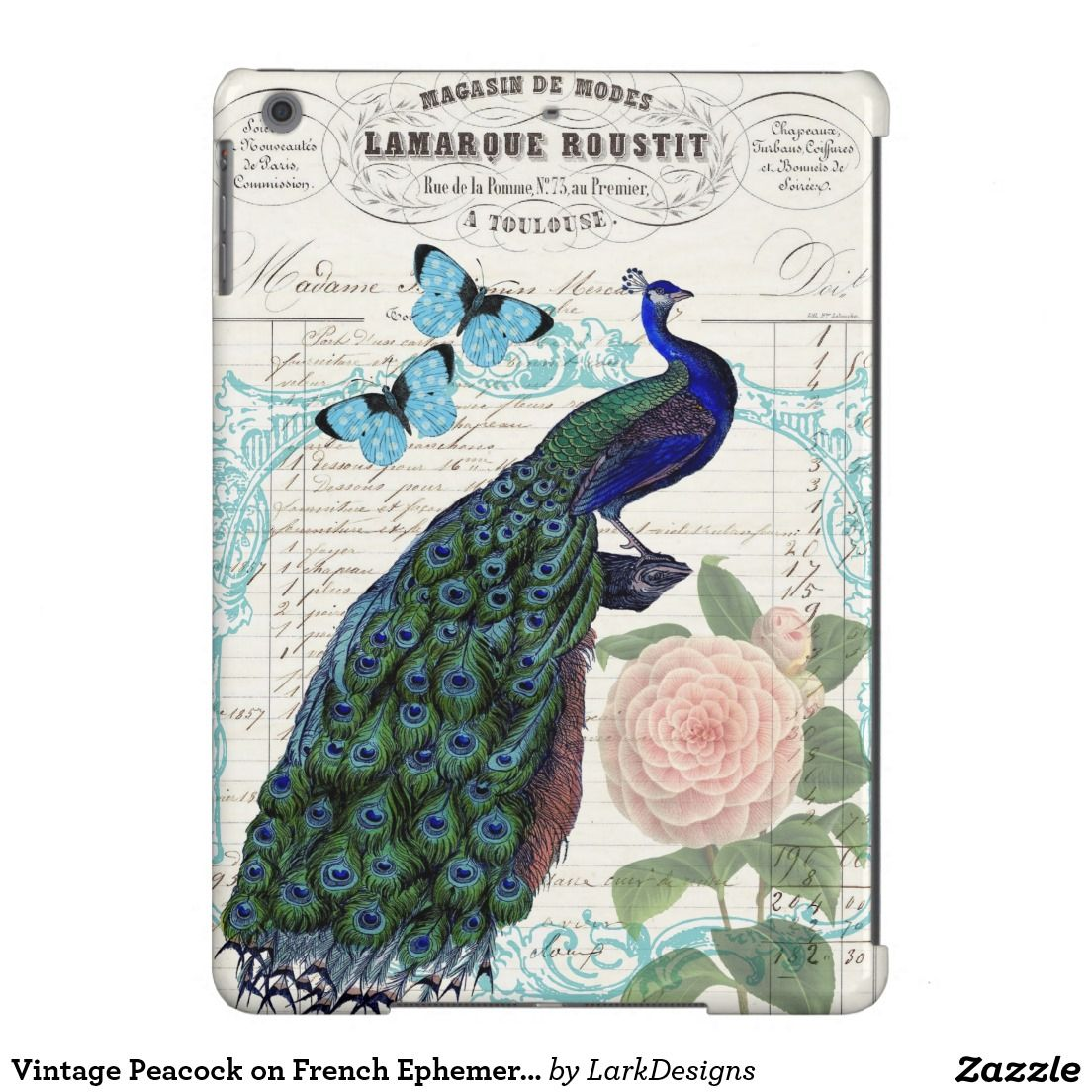 Vintage Peacock on French Ephemera Collage Case For iPad Air