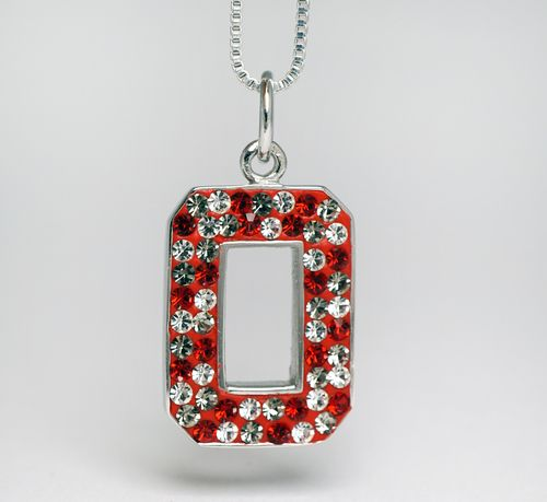 Sterling Silver & Swarovski Crystal Pendant with Chain (Confetti Style white, red, & grey)
