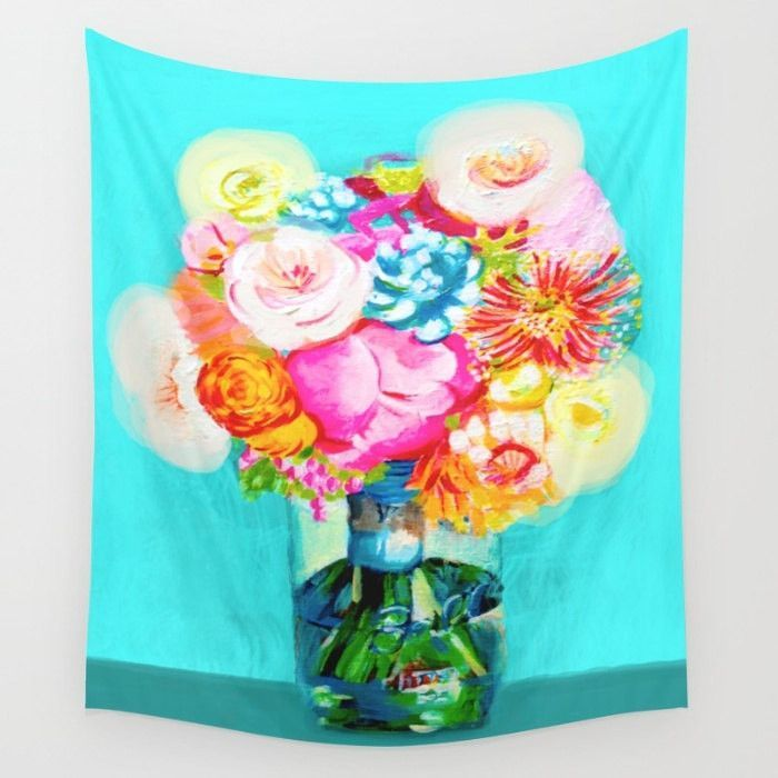 Mason Jar Floral Bouquet in Hot Pink/Turquoise Painting Print Wall Tapestry // Wall Hanging. Colorful Flower Bouquet Painting Wall Art