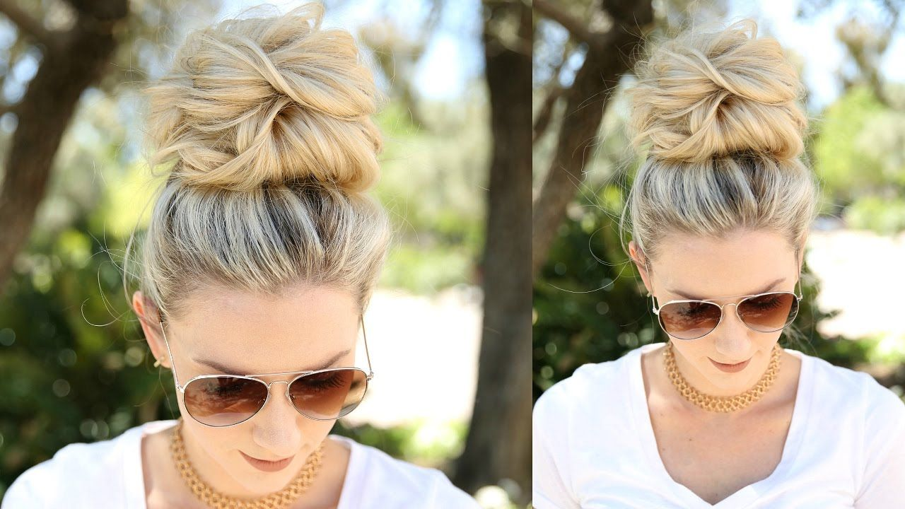 Hairstyles For Short Hair Using Bobby Pins: Easy Messy Bun Using No Bobby Pins