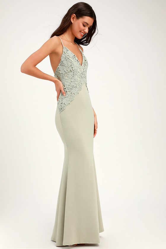 Katalina Sage Green Backless Crochet Lace Maxi Dress #sagegreendress