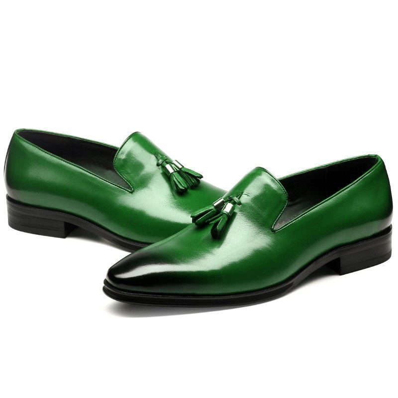 0b582eb501a Green Tassel Loafer Slip On Plain Burnished Toe Genuine Leather ...