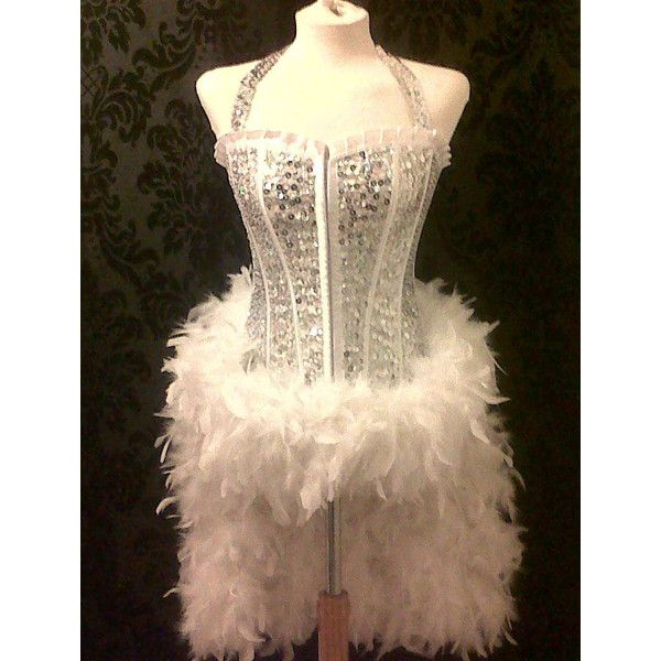 Halloween Costume 370.Burlesque Showgirl Deluxe Silver White Sequin Costume 370 Aud