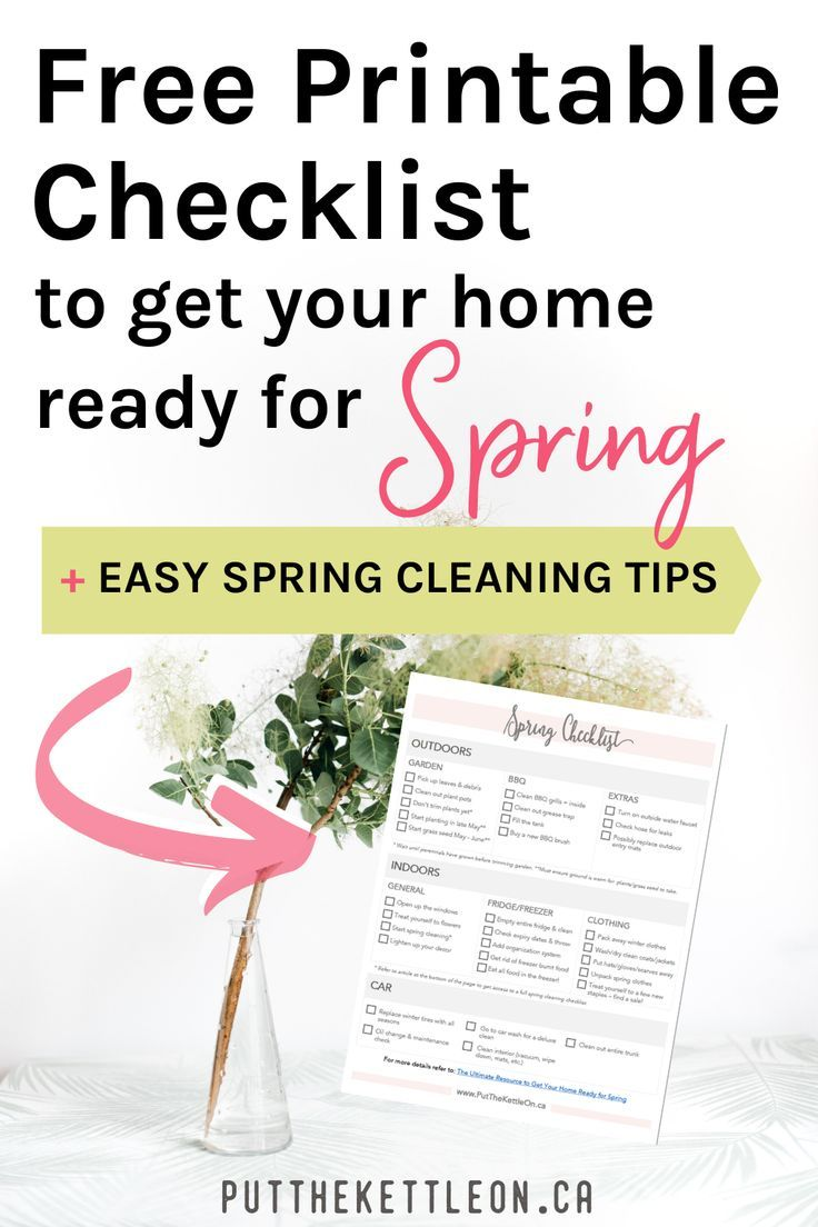 Get your home ready for Spring with this free spring cleaning and organization checklist. Covering what to clean and set up inside and outside your home + your car. Also get access to these helpful organization tips. #springcleaning #organize #organizationtips #springclean
