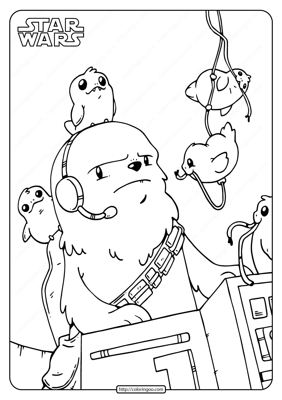 Star Wars Chewie And Porgs Coloring Pages In 2020 Star Wars Coloring Sheet Star Wars Cartoon Descendants Coloring Pages