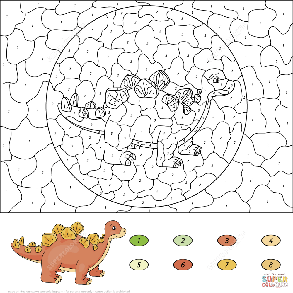 Stegosaurus Color By Number Super Coloring Coloring Books Dinosaur Coloring Pages Coloring Pages
