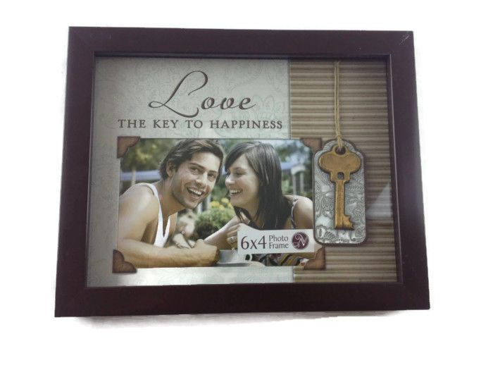 Love is the key to happiness picture frame 1st anniversary gift