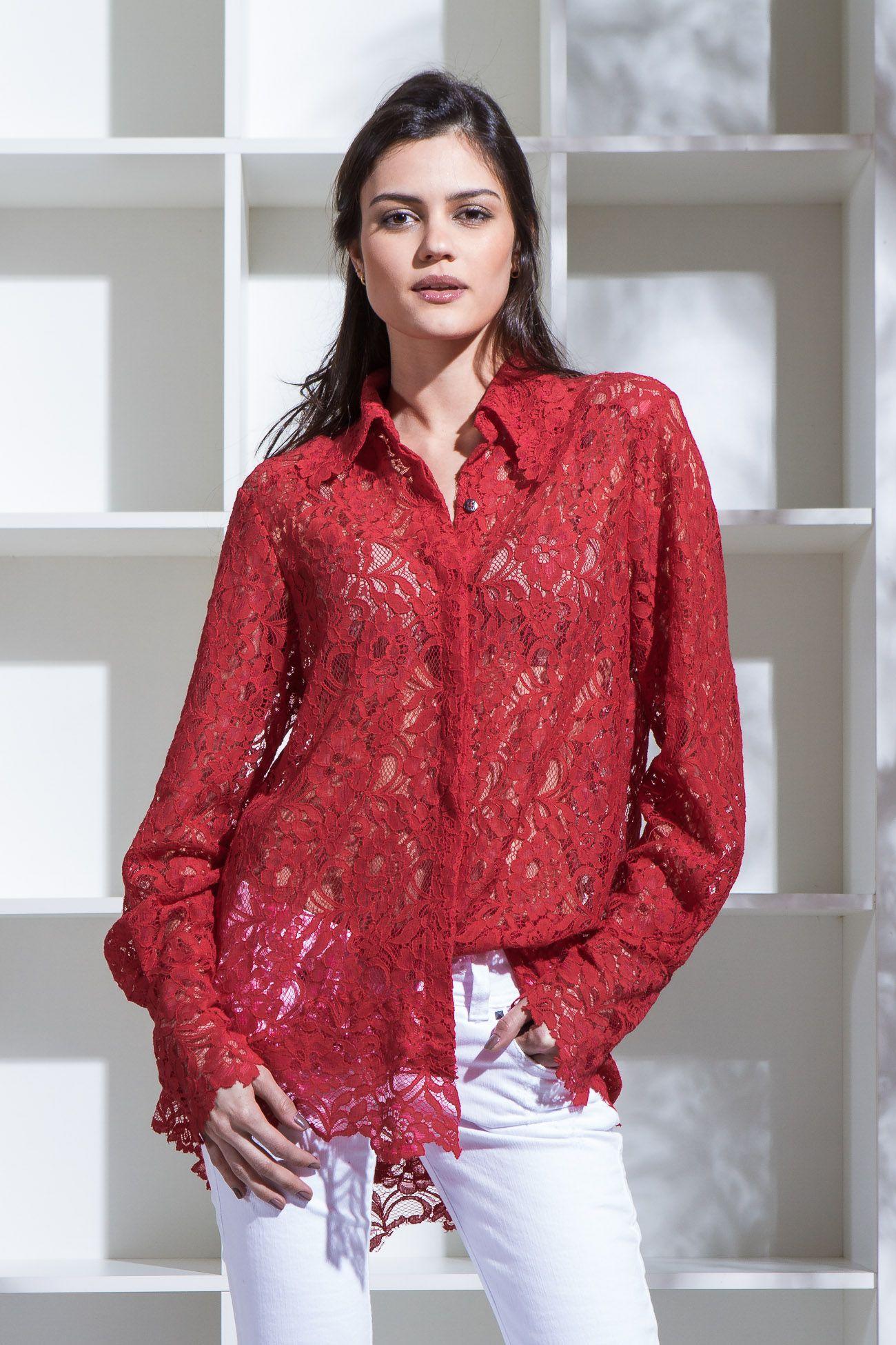 Camisa em Renda Vermelho MINE