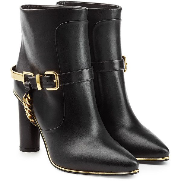 Balmain Leather Ankle Boots (49.780 RUB) ❤ liked on Polyvore featuring shoes, boots, ankle booties, booties, sapatos, black, black leather boots, black boots, leather booties and chunky black booties
