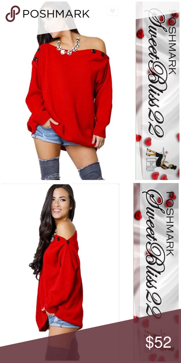 164e2e39b4 💄Red Sweater💄 This sweater features ribbed boat neck