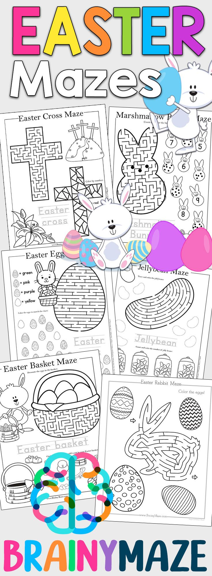 Free Easter Mazes for Kids! 13 Fun & Educational Mazes including ...