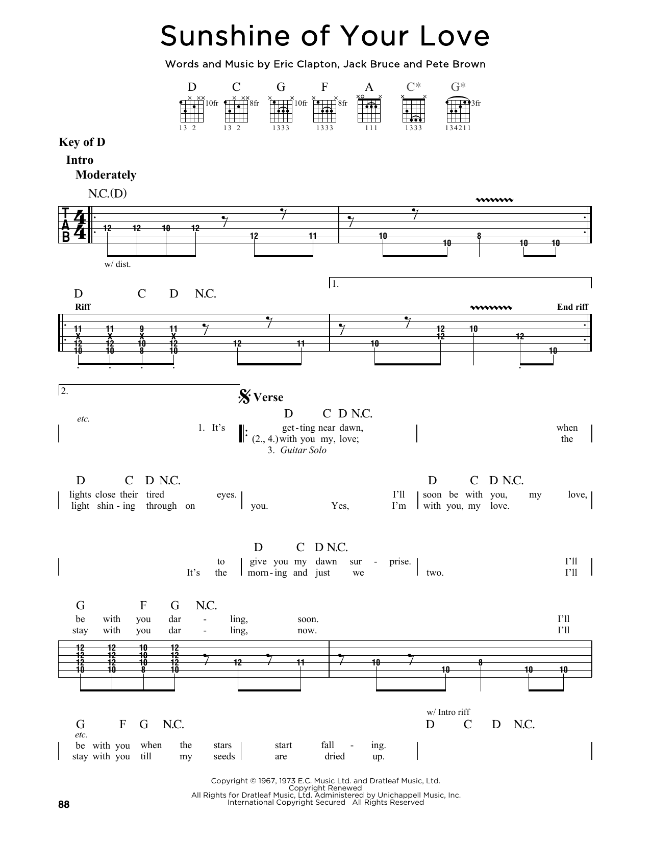 Sunshine Of Your Love By Cream Guitar Lead Sheet Guitar