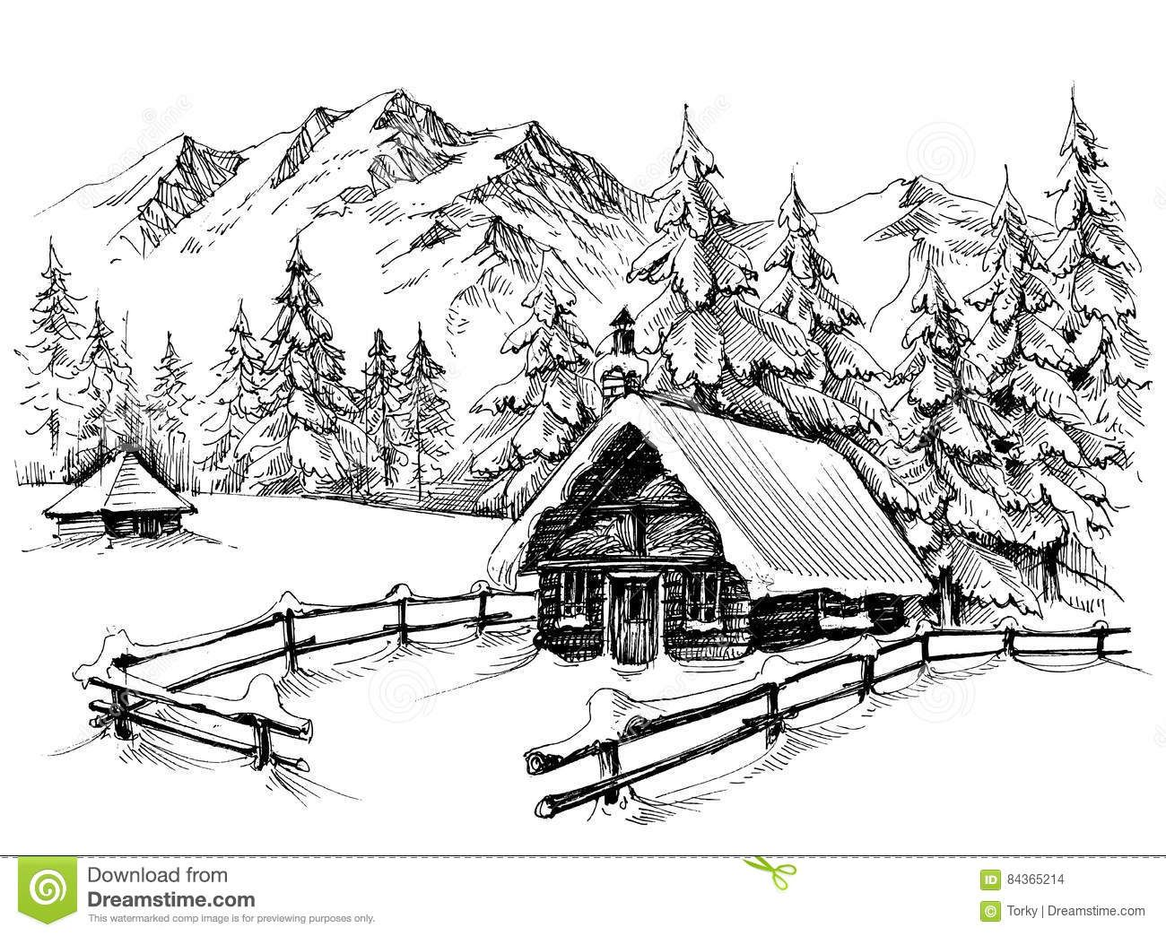 Download 375 Winter Cabin Drawing Stock Illustrations Vectors Clipart For Free Or Amazingly Low R Landscape Pencil Drawings Landscape Sketch Winter Drawings
