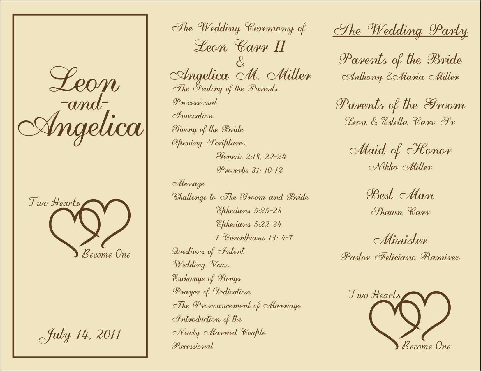 tri fold wedding programs template