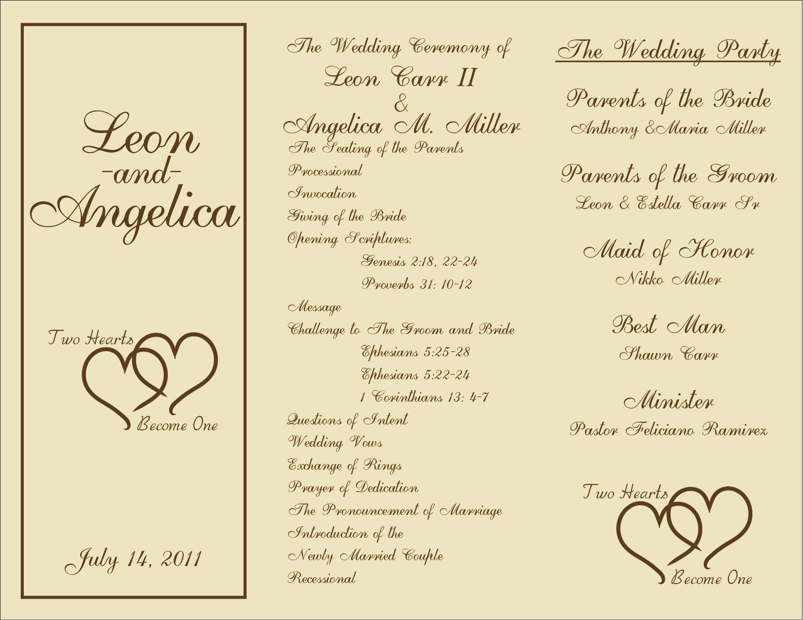 wedding ceremony program designs