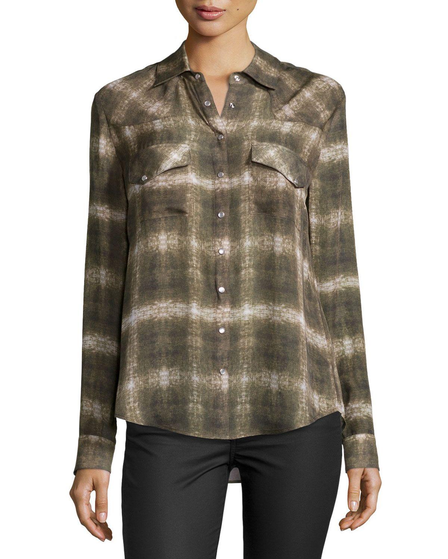 Haute hippie basic western longsleeve shirt military multi